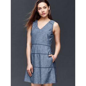 Chambray Fit & Flare Blue Dress Gap sz 6